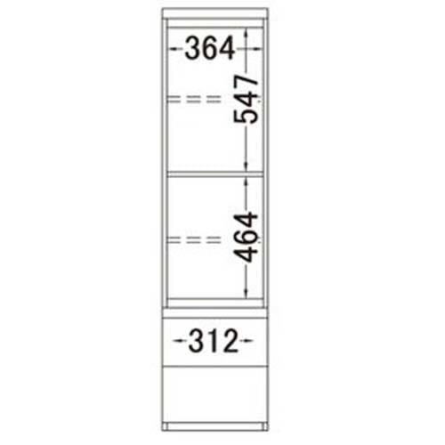 ラグジュアリー壁面サイドキャビネット40右開き<パモウナ VD-400R> 内寸図