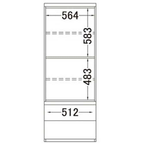 ラグジュアリー壁面サイドキャビネット60両開き<パモウナ VD-600> 内寸図