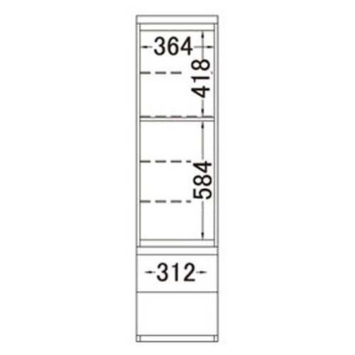 ラグジュアリー壁面コレクションキャビネット40左開き<パモウナ VD-405L> 内寸図