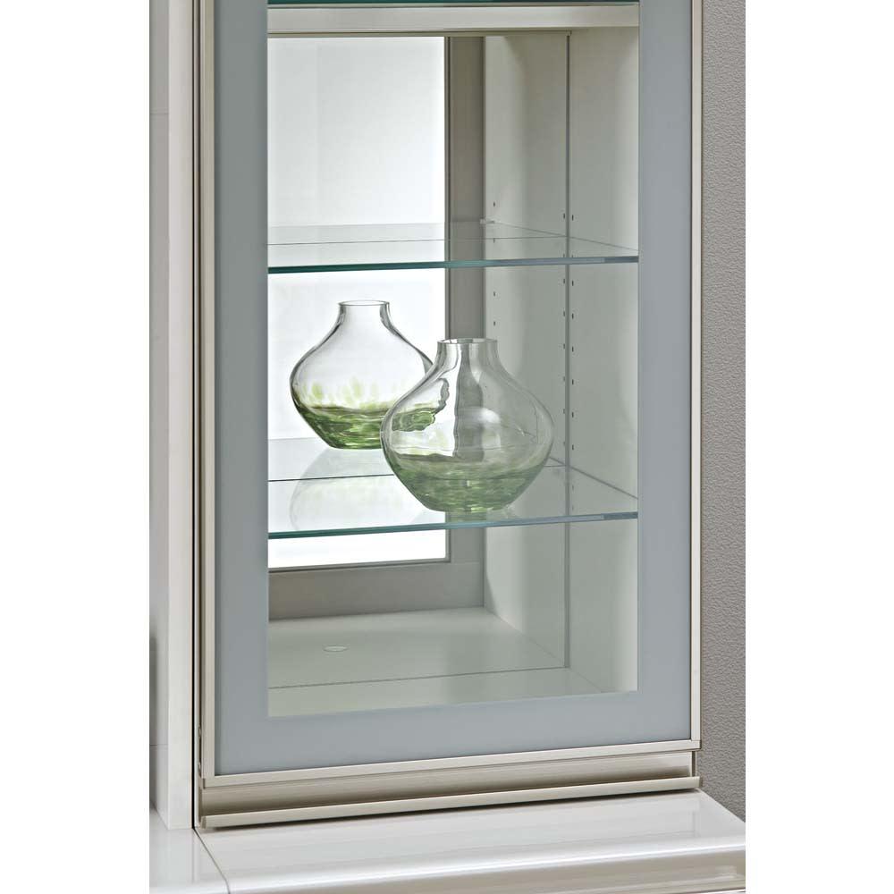 ラグジュアリー壁面コレクショキャビネット40右開き[パモウナ VD-405R] 背面にミラーと、ガラスの棚板付き