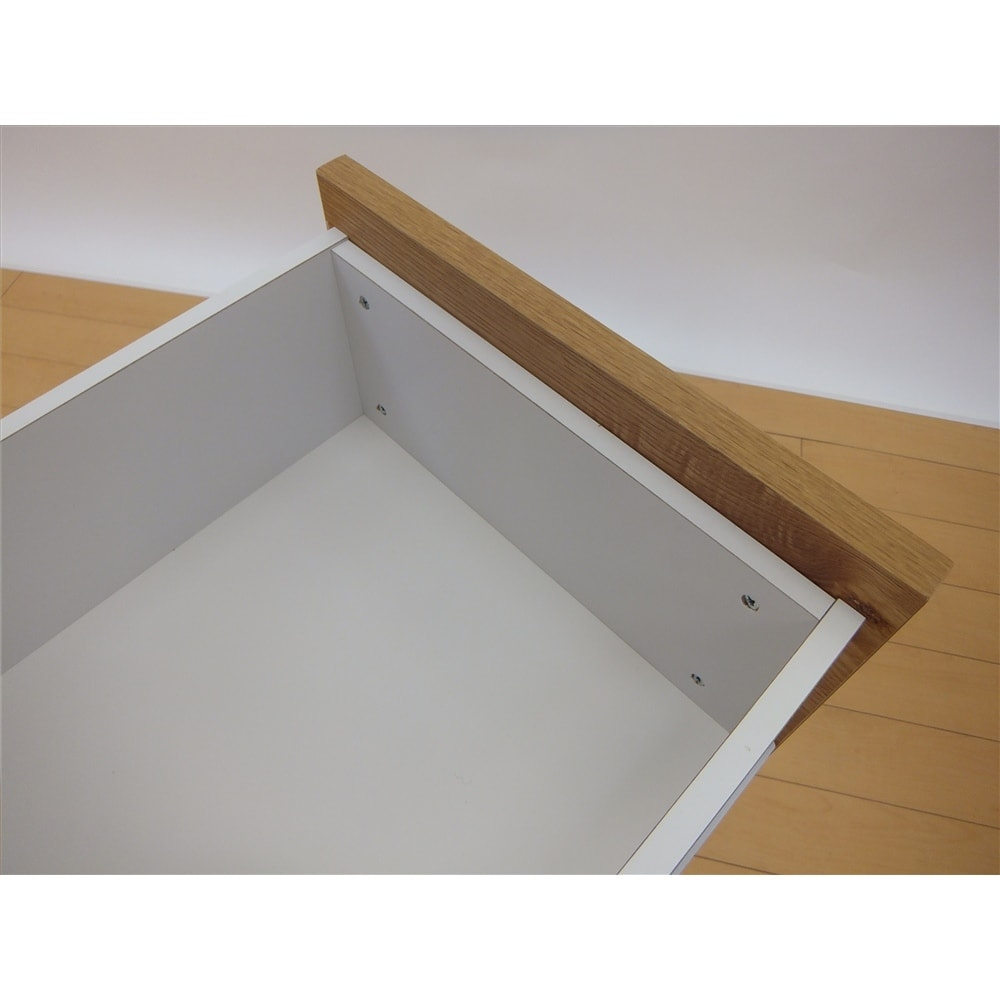 ナチュラル天然木風 引出しキッチンストッカー 幅39.5 引出内部は収納物に配慮した化粧仕上げ。丈夫な箱組です。