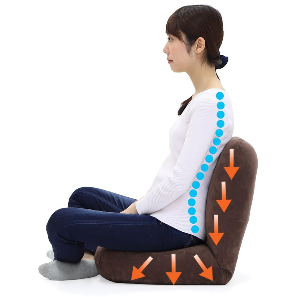 産学連携 あぐら座椅子 クッション構造とリクライニング機能で体重圧を分散、背骨の「S字カーブ」をサポート