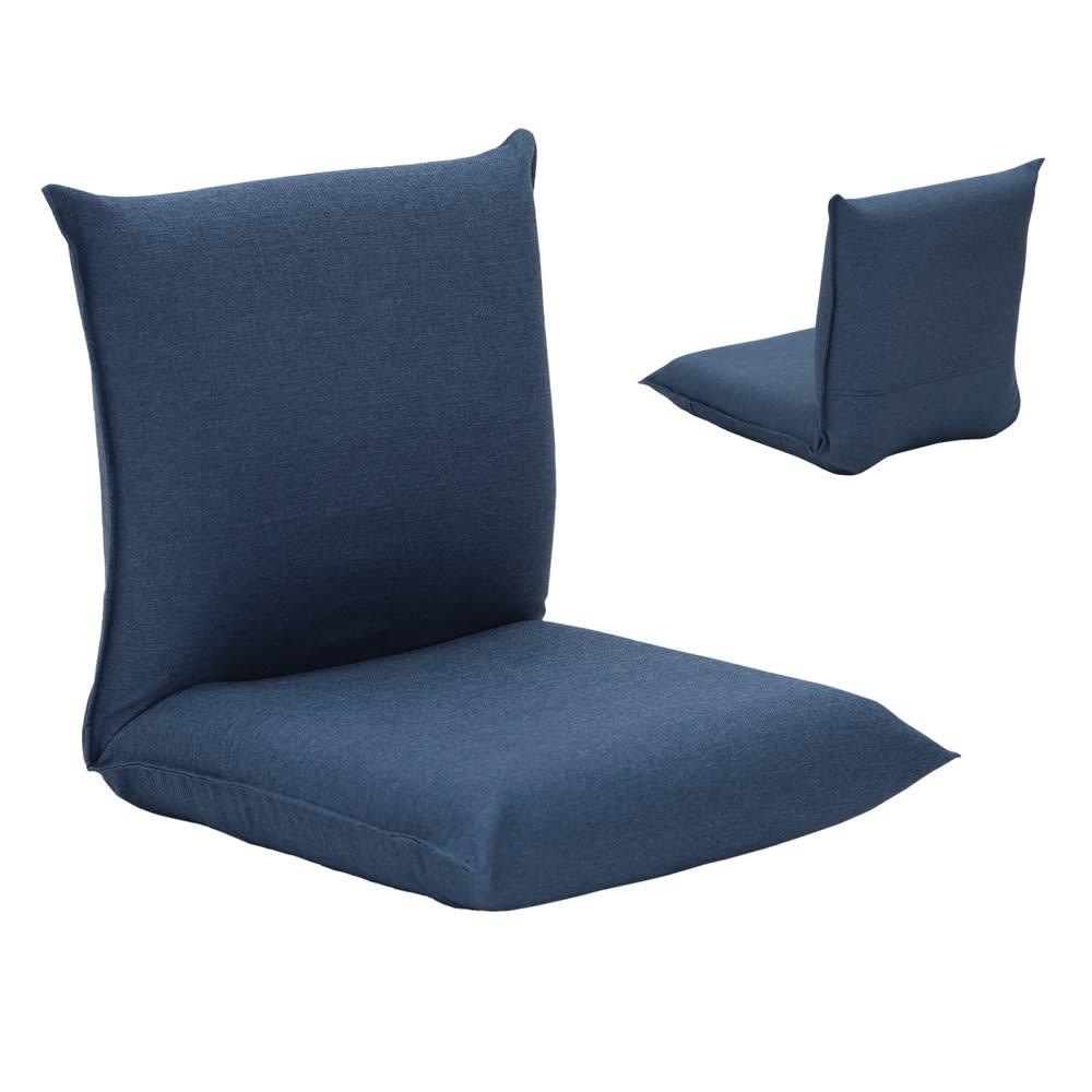 産学連携 コンパクト座椅子 ブルー 全体に表生地を使った部屋のイメージに合わせやすい仕様。