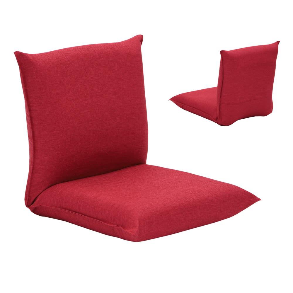 産学連携 コンパクト座椅子 レッド 全体に表生地を使った部屋のイメージに合わせやすい仕様。