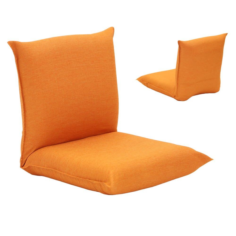 産学連携 コンパクト座椅子 オレンジ 全体に表生地を使った部屋のイメージに合わせやすい仕様。