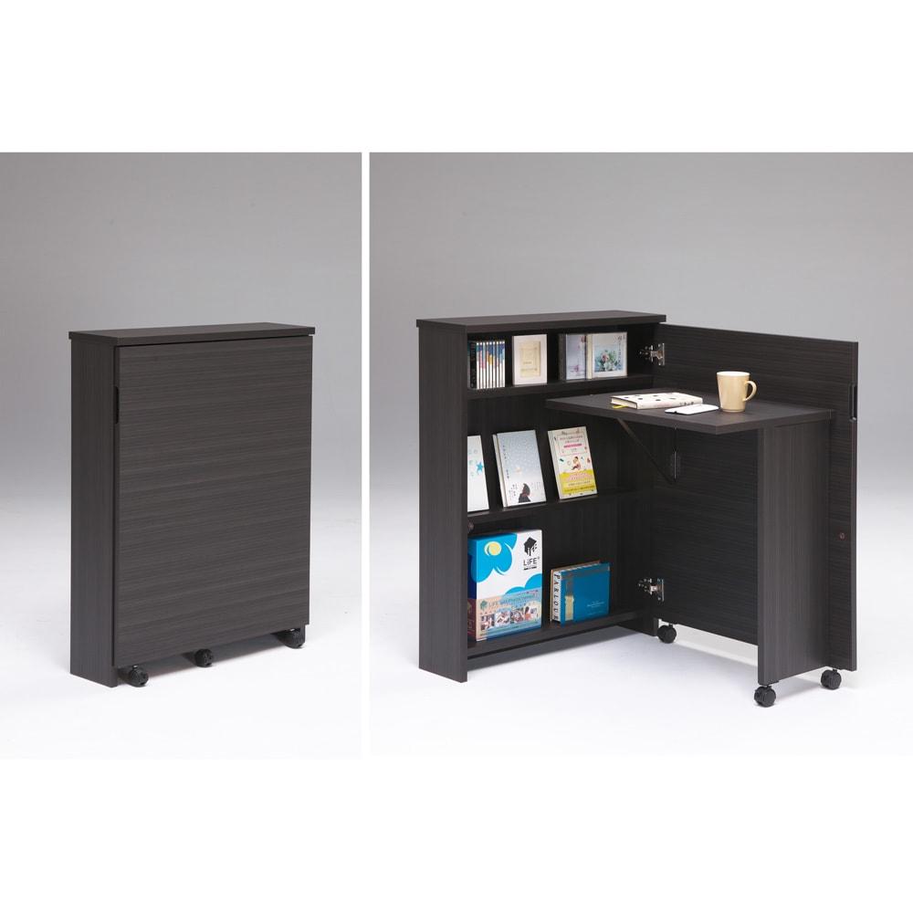 折り畳み収納型デスク 畳むんデス プチ (イ)ダークブラウン:右は収納時。左はデスク使用時
