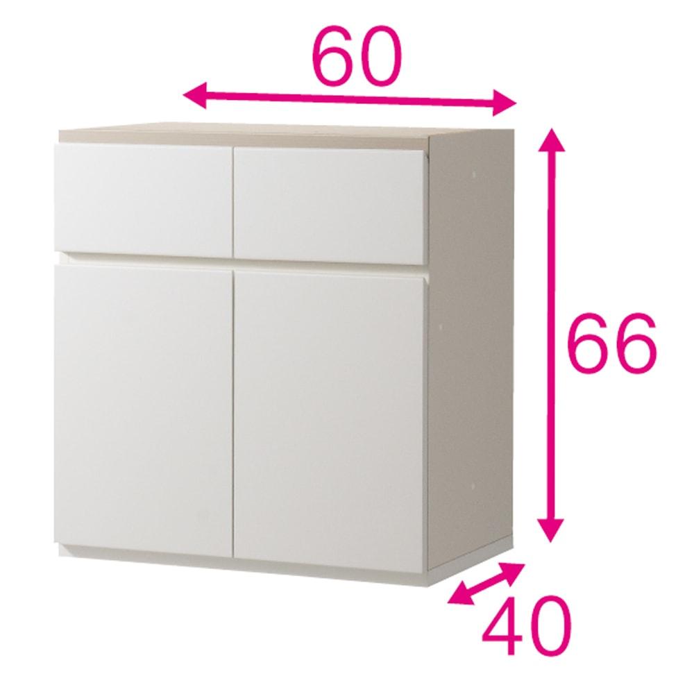 ギャラリー壁面収納 洗練デザインのリビングカウンター収納シリーズ 下台 扉タイプ 幅120cm [パモウナ YA-120] (ウ)ホワイト色見本 写真は幅60cmタイプ