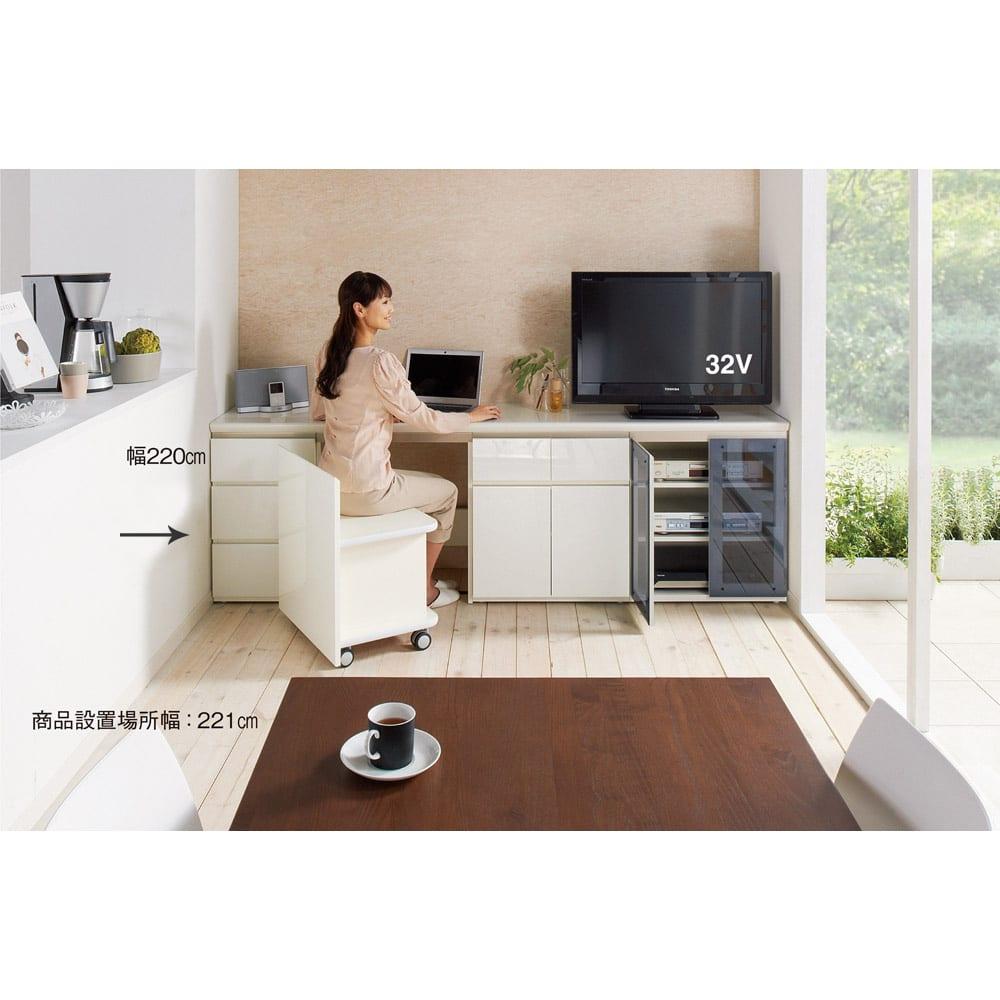 ギャラリー壁面収納 洗練デザインのリビングカウンター収納シリーズ 下台 引き出しタイプ 幅40cm [パモウナ YA-43] (ウ)ホワイト組合せ例 ※商品設置場所幅:221cm