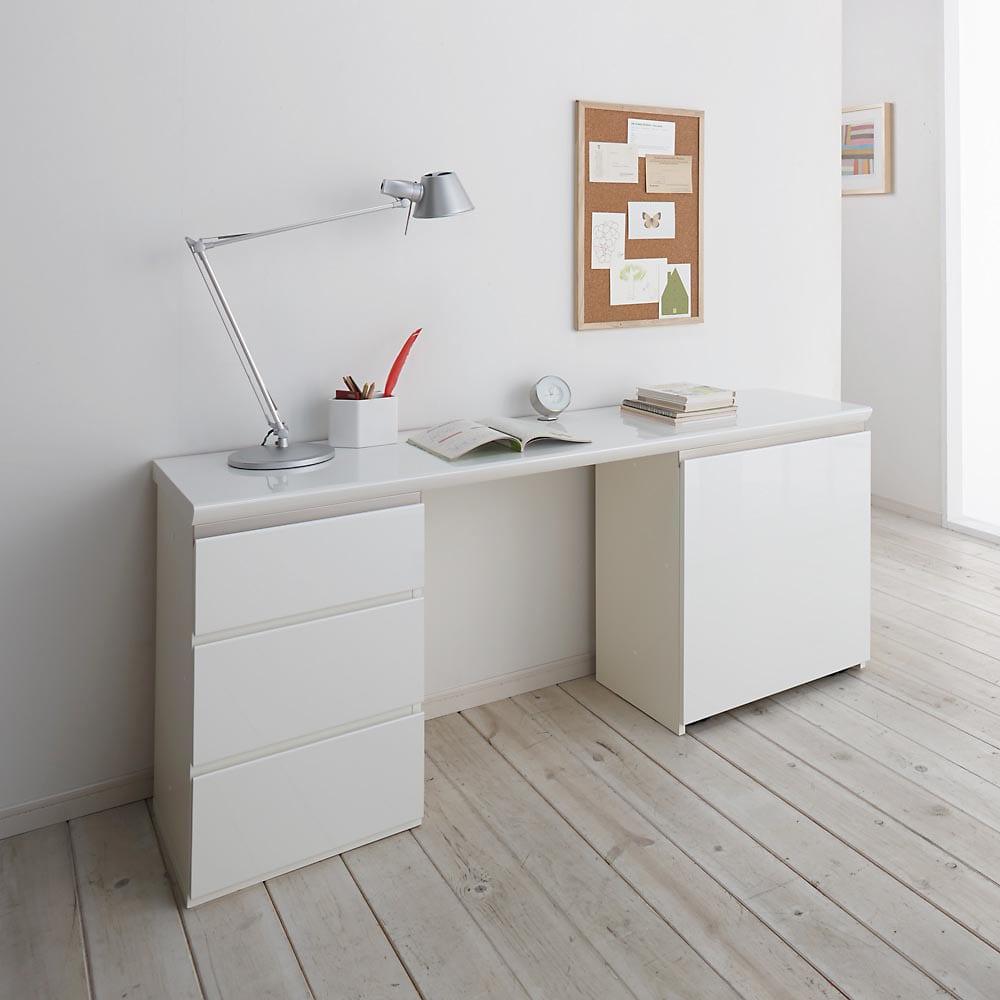 ギャラリー壁面収納 洗練デザインのリビングカウンター収納シリーズ 下台 引き出しタイプ 幅40cm [パモウナ YA-43] (ウ)ホワイト組合せ例