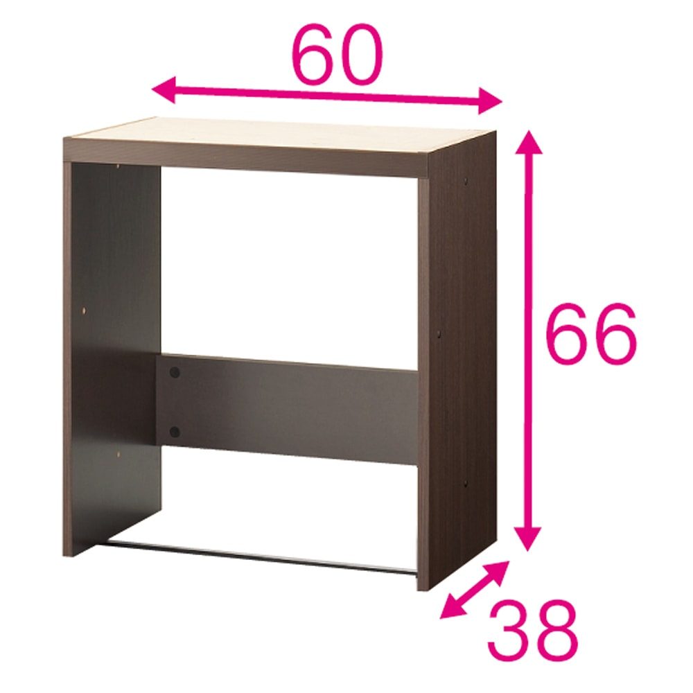 壁面いっぱいに収められるリビングカウンター収納シリーズ 下台 多機能ワゴンタイプ 幅60cm [パモウナ YA-62・YA-69W] ワゴンを収納するボックス。ボックスと天板を連結して使用します。