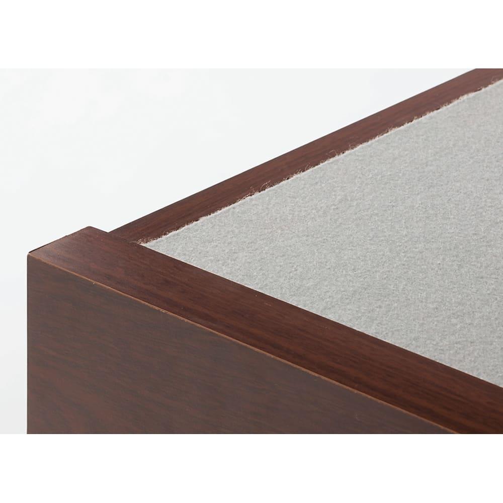 棚付きフルオープン引き出しベッド  フレームのみ 床板にはマットがズレにくいフェルト素材を採用。