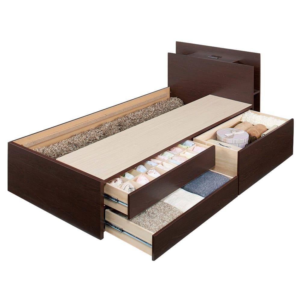 棚付きフルオープン引き出しベッド  フレームのみ (床板取り外し時)床板の下は長さ190cmまでの長尺物が収納可能。 ※写真はシングルです。