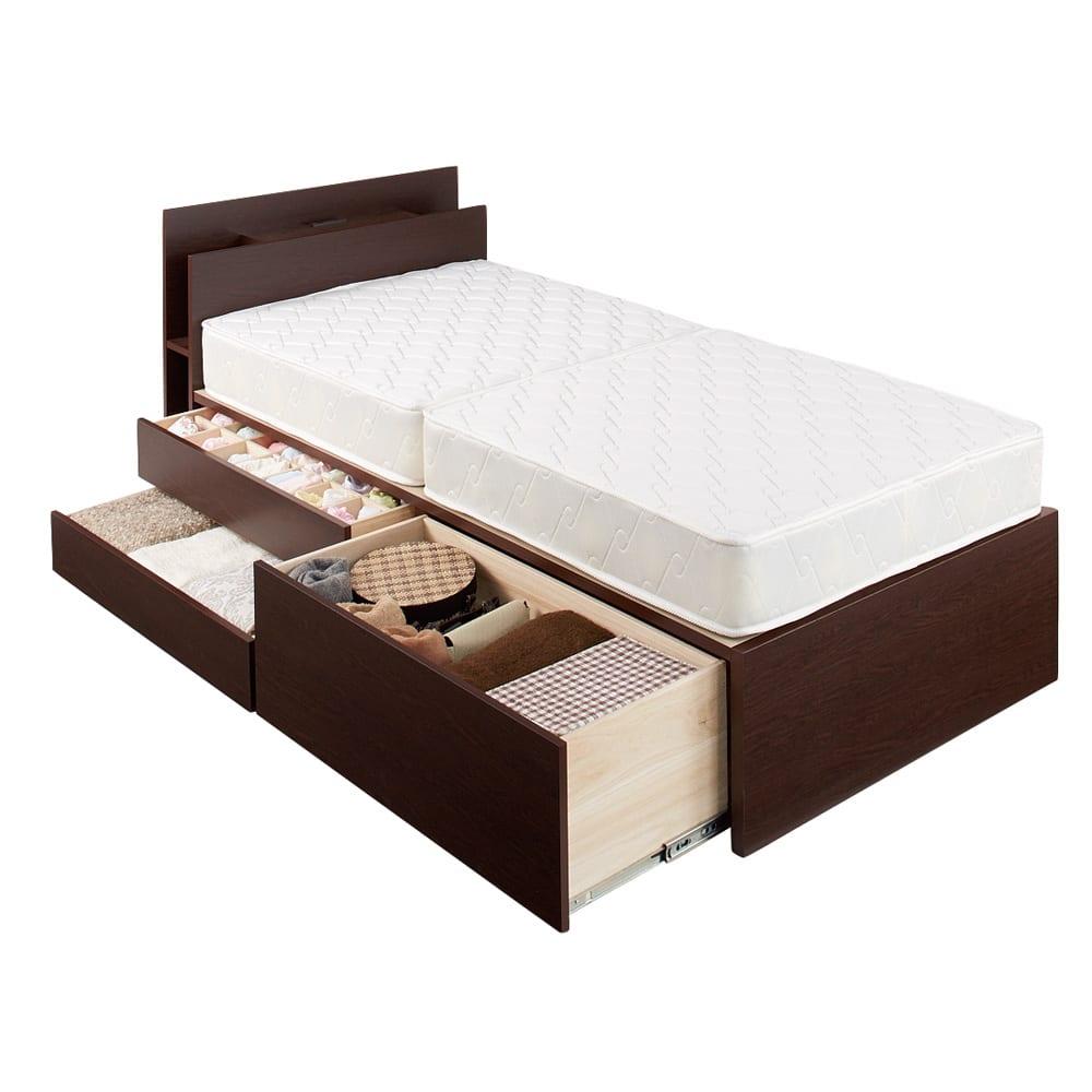 棚付きフルオープン引き出しベッド  フレームのみ 引き出しは組立時左右どちらにも設置可能。 ※写真はシングルです。