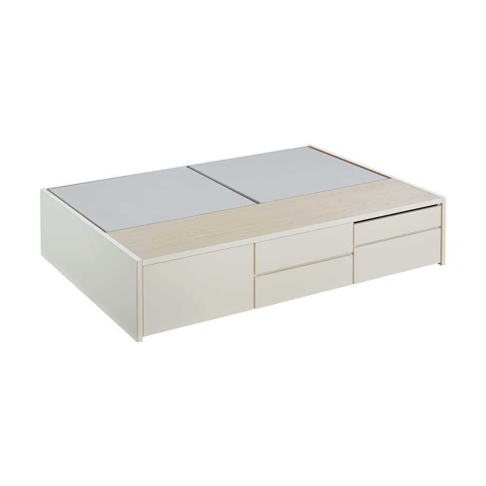 サイドテーブルが出てくるチェストベッド(フレームのみ) シングル (ア)ホワイト