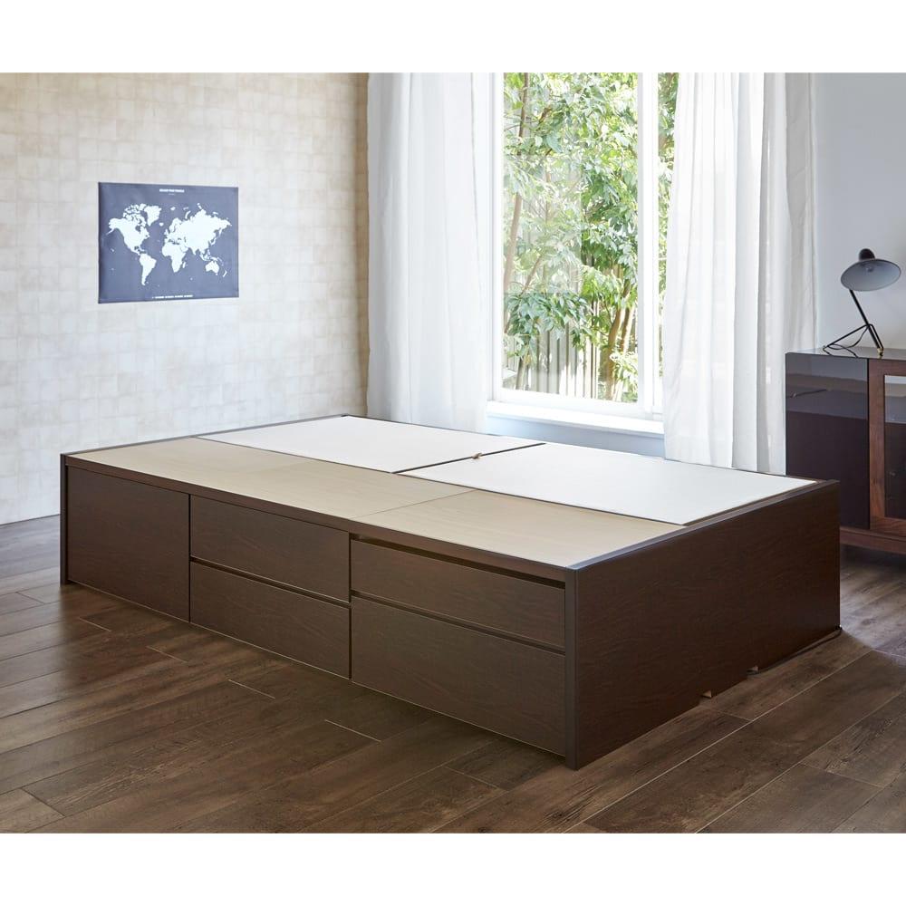 サイドテーブルが出てくるチェストベッド(フレームのみ) シングル (イ)ダークブラウン ※写真はセミダブルです。
