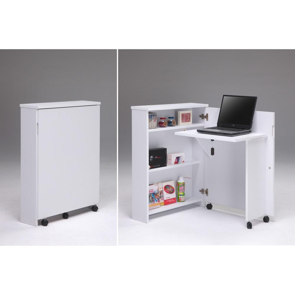 折り畳み収納型デスク 畳むんデス プチ (ア)ホワイト:右は収納時。左はデスク使用時