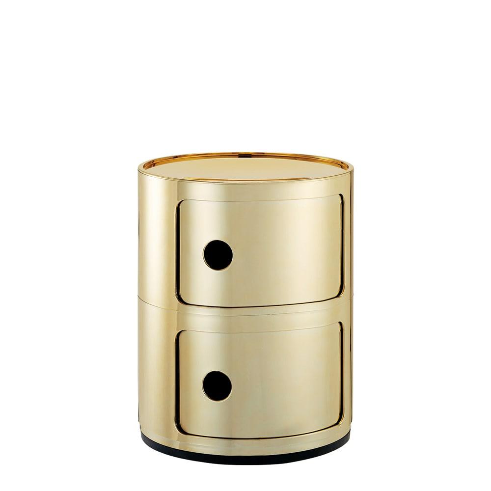 KartellストレージBOX コンポニビリ メタル ゴールド(2段)。ポイントのアクセサリーとして、コーディネートを華やかに。
