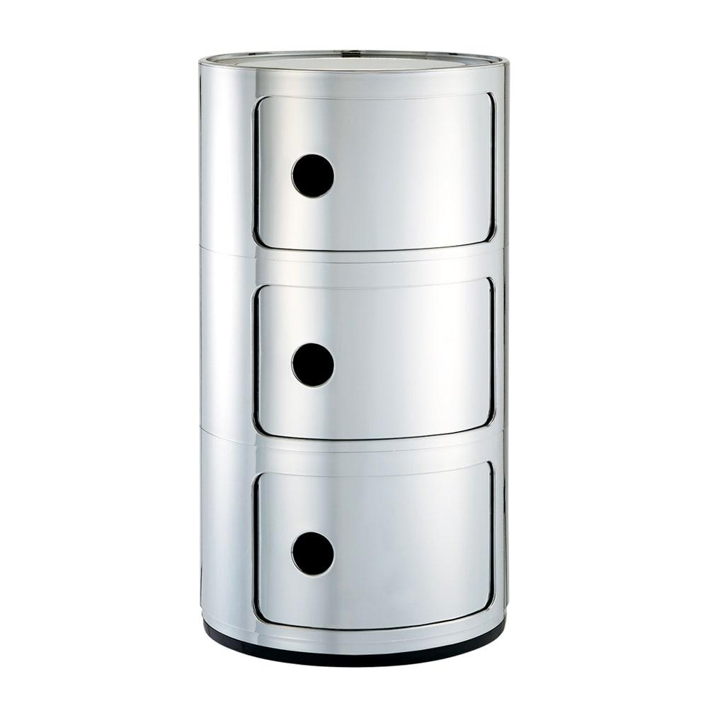 KartellストレージBOX コンポニビリ メタル クローム(3段)。ミラーのような光沢の銀色で、スタイリングをクールに。