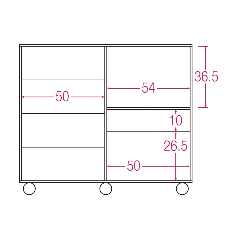 隠しキャスター付き すっきり引き戸カウンター 引き出しタイプ 幅117.5cm高さ100cm 内寸図(単位:cm)