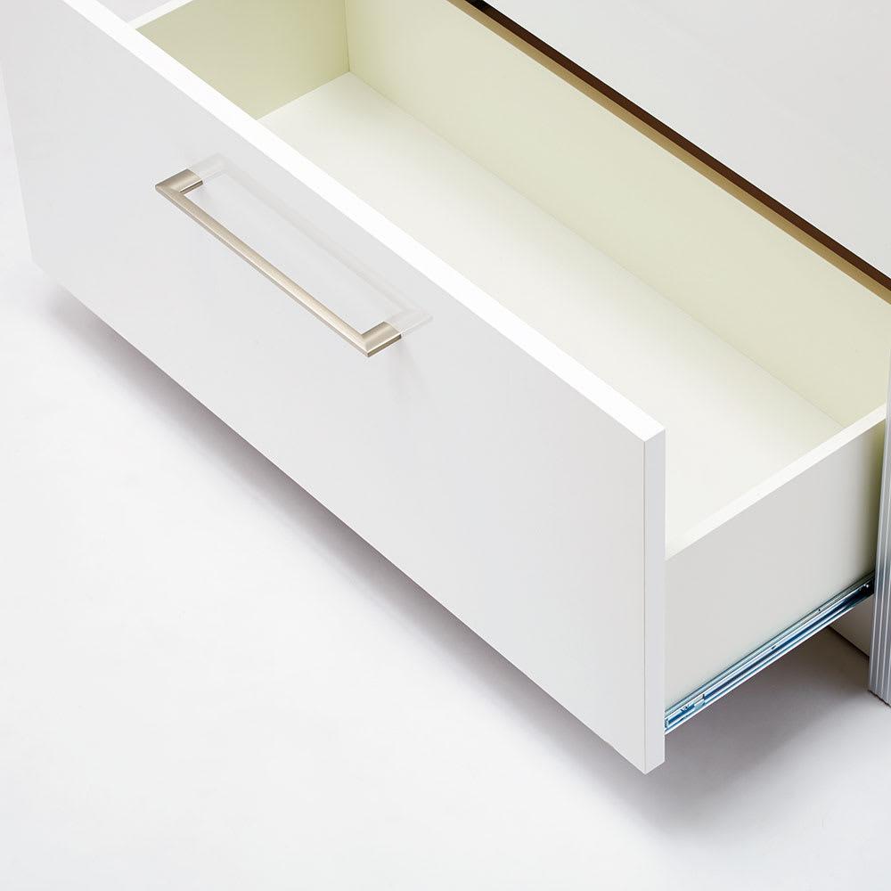 Orlo/オルロ アイランドカウンター 高さ102幅90.5cm 引き出し内部化粧 内部は丁寧な化粧仕上げ。拭き掃除も簡単。