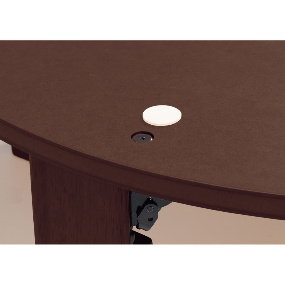 【だ円形】120×90cm ナラ天然木折れ脚まぁるいこたつ オーバル形 天板がずれないようにズレ防止のフェルト付き。