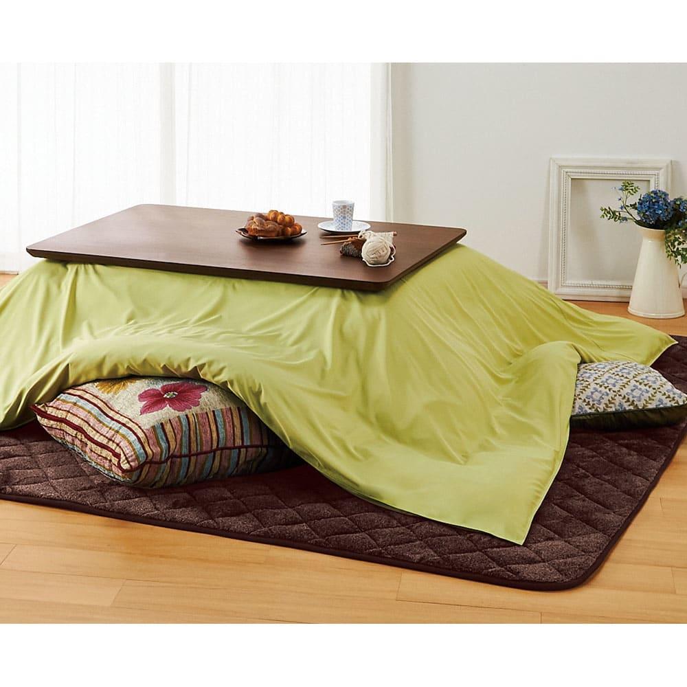 【2長方形・小】105×75cm 木の風合いで選べる平面パネルこたつテーブル 使用イメージ(イ)ダークブラウン