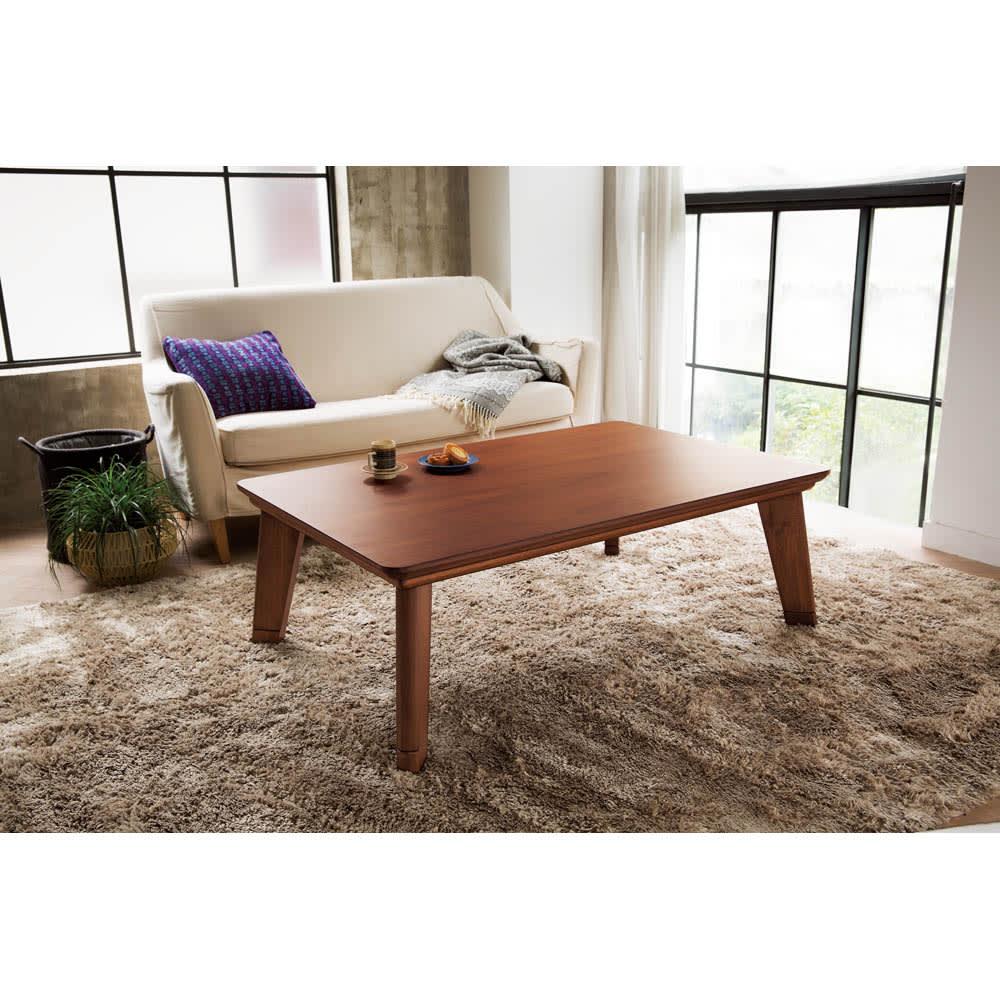 【3長方形】120×80cm 木の風合いで選べる平面パネルこたつテーブル 使用イメージ(イ)ダークブラウン
