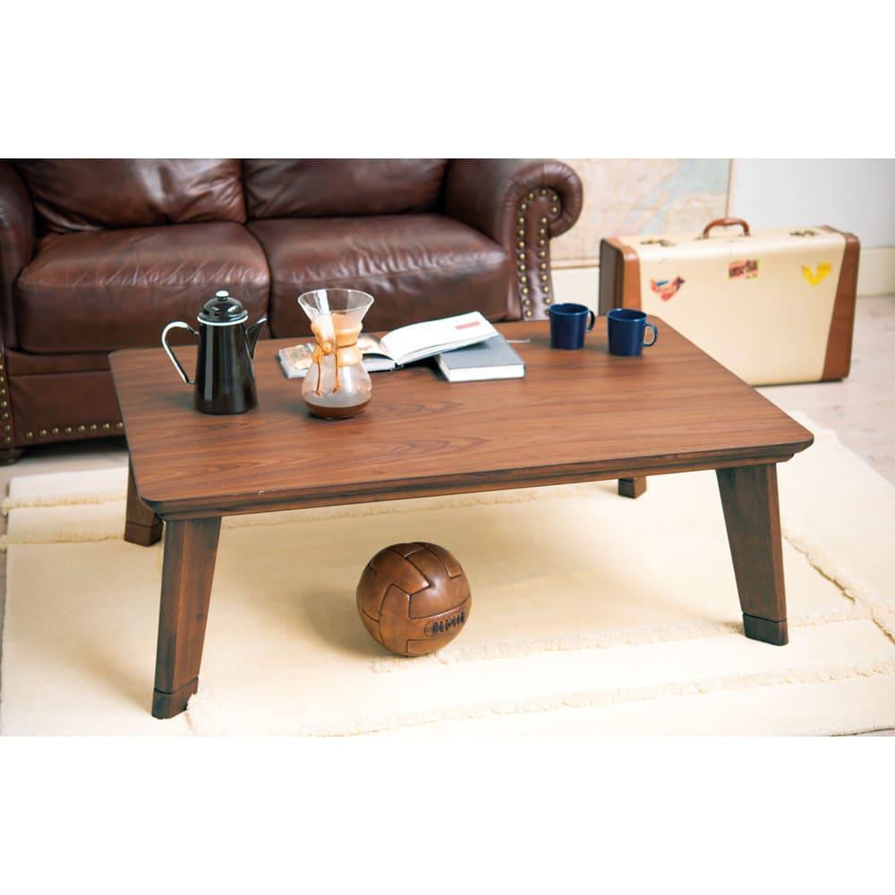 【3長方形】120×80cm 木の風合いで選べる平面パネルこたつテーブル (イ)ブラウン 座椅子利用時は継ぎ脚をつけて高さを調整できます。