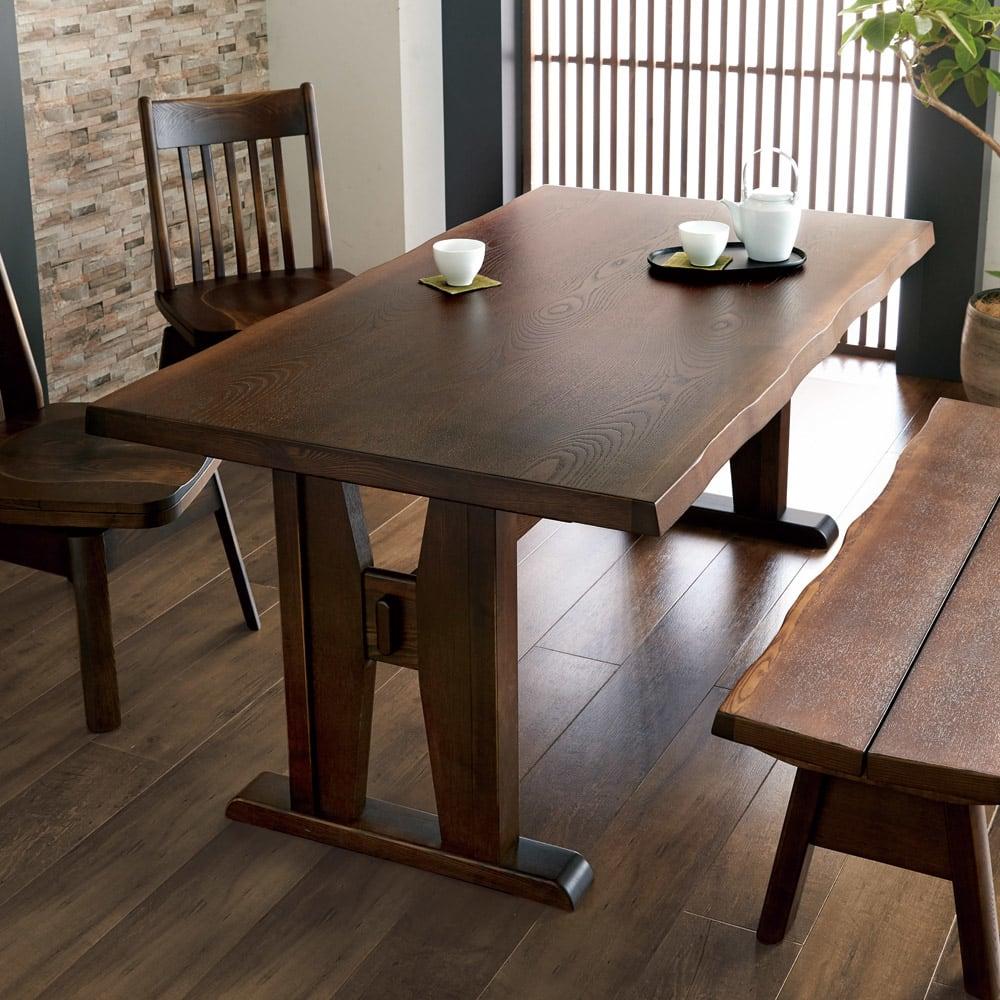 和モダンダイニング ダイニングテーブル 幅160cm コーディネート例(ア)ダークブラウン ※お届けはダイニングテーブルです。