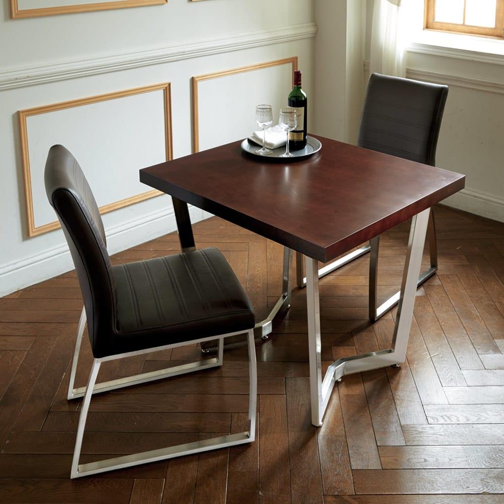コンパクトモダンダイニング テーブル 幅85cm 使用イメージ(イ)ダークブラウン