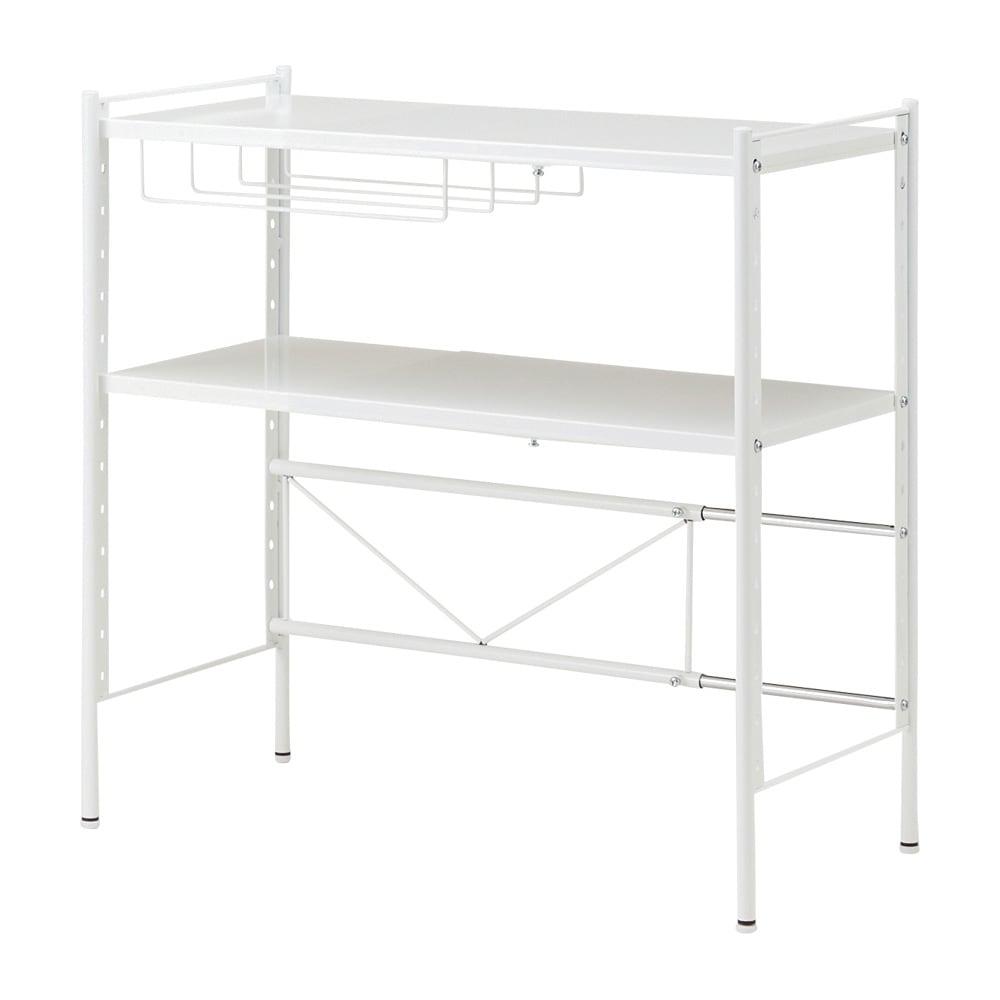レンジ上を活用できる伸縮キッチンラック 2段(高さ70cm) 幅52~84cm (ア)ホワイト