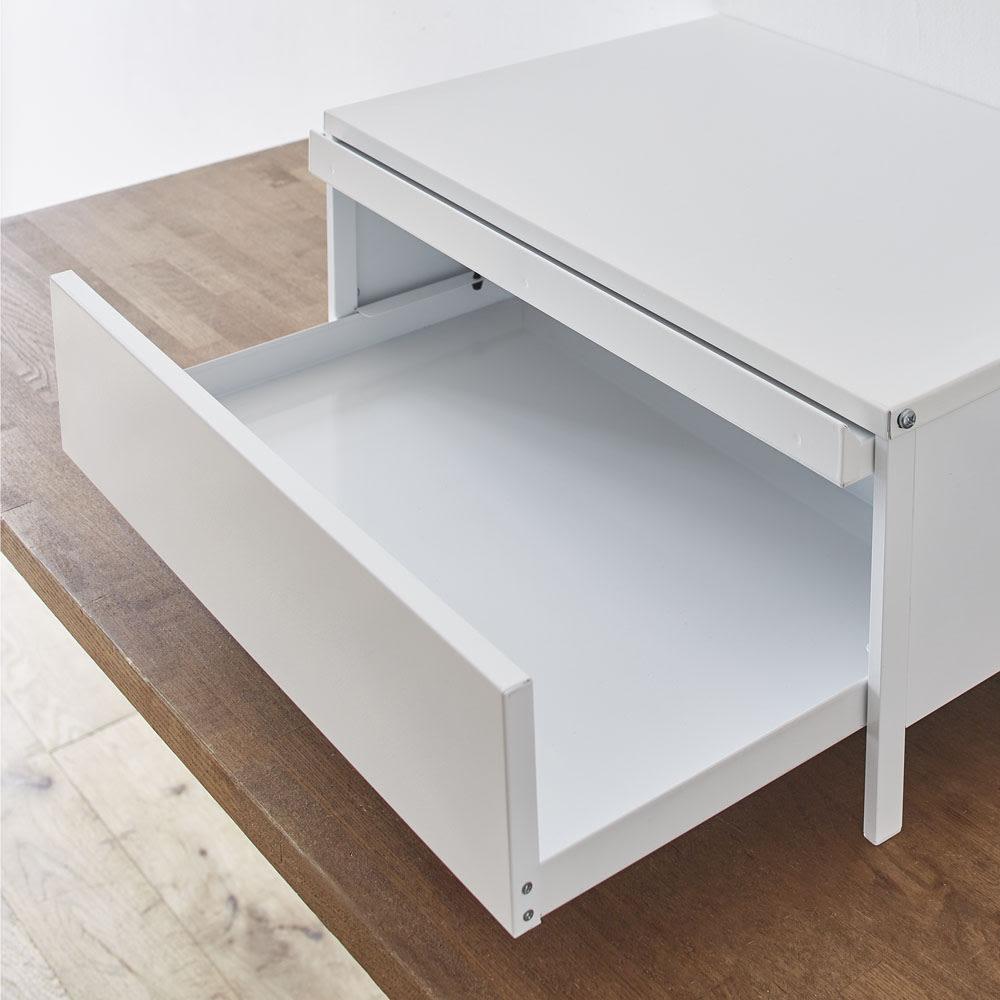 レンジ下スライドテーブル脚付きタイプ 引き出し付き 幅48高さ26cm