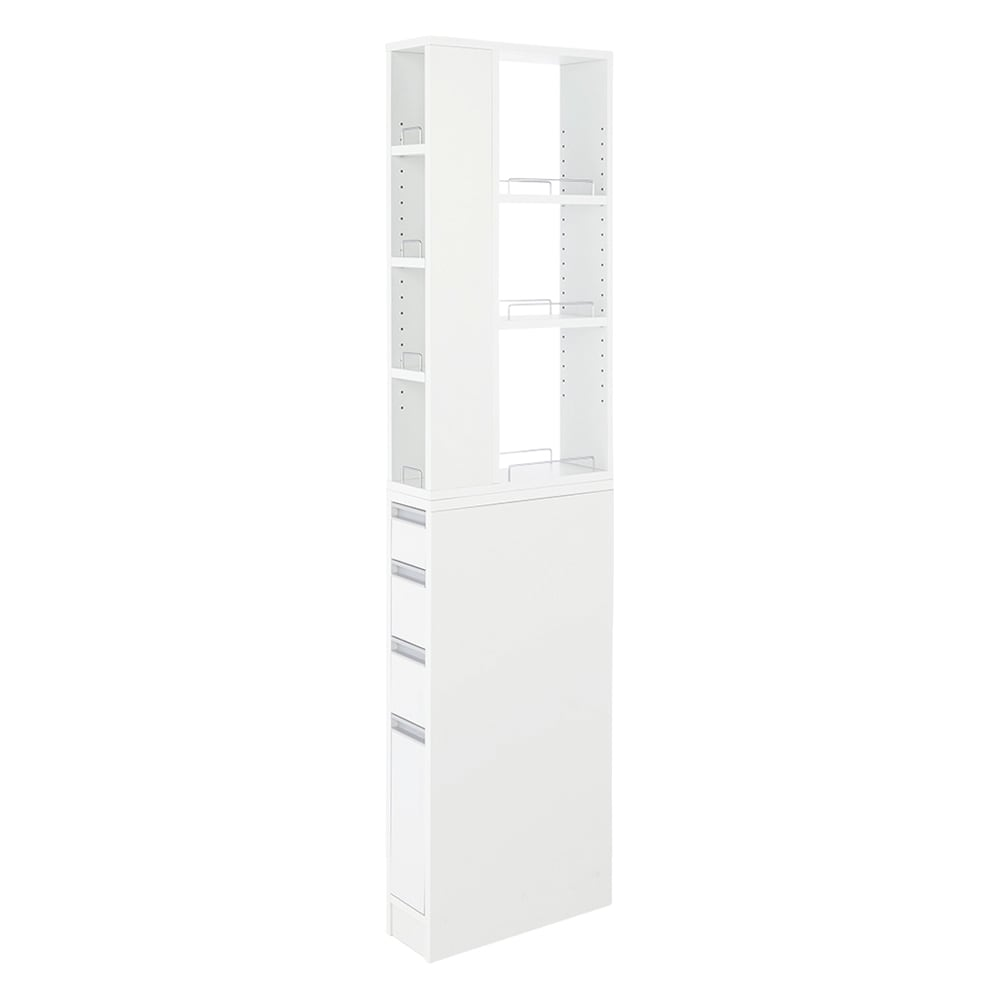 収納物が取り出しやすい3面オープンすき間収納庫 幅15cm 棚板部全体の内寸高さ81.5cm、前面の内寸幅11・奥行12.5、オープン部の幅13・奥行26.5cm