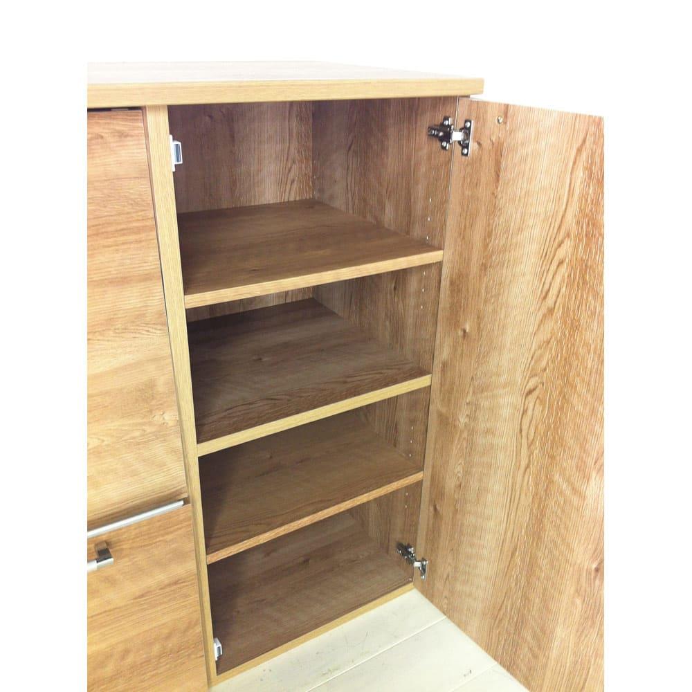天然木調隠せる家電収納キッチンカウンター 奥行45.5cm
