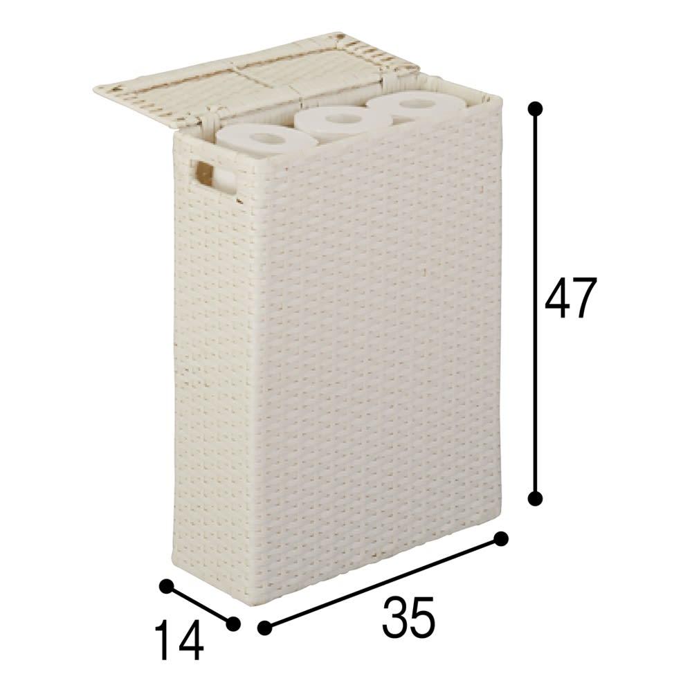 ラタン調トイレットペーパーボックス スリムタイプ (ア)ホワイト スリムタイプ、ワイドタイプともに12ロールを収納可能。(単位:cm)
