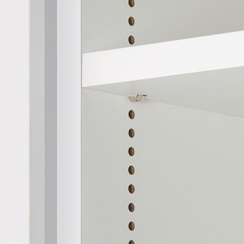 食器に合わせて選べる食器棚 幅75cm奥行42cm高さ180cm 高さも無駄なく。1cm間隔で細かく調整できる棚板。