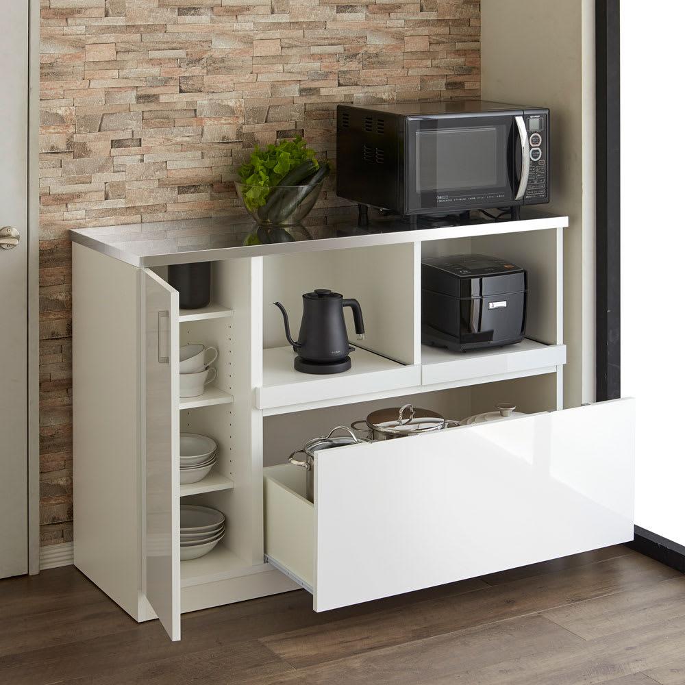 収納物で選ぶステンレスカウンター 家電×2タイプ 幅120cm コーディネート例