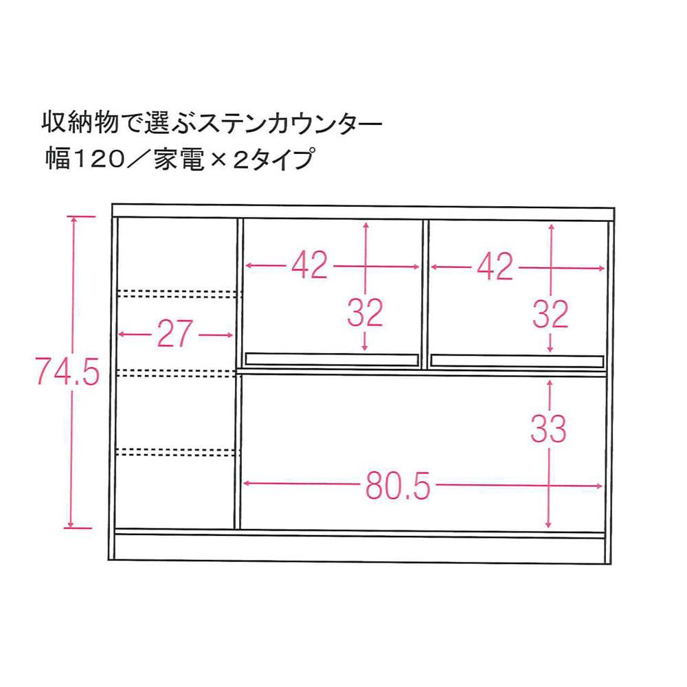 収納物で選ぶステンレスカウンター 家電×2タイプ 幅120cm 内寸図(単位:cm)