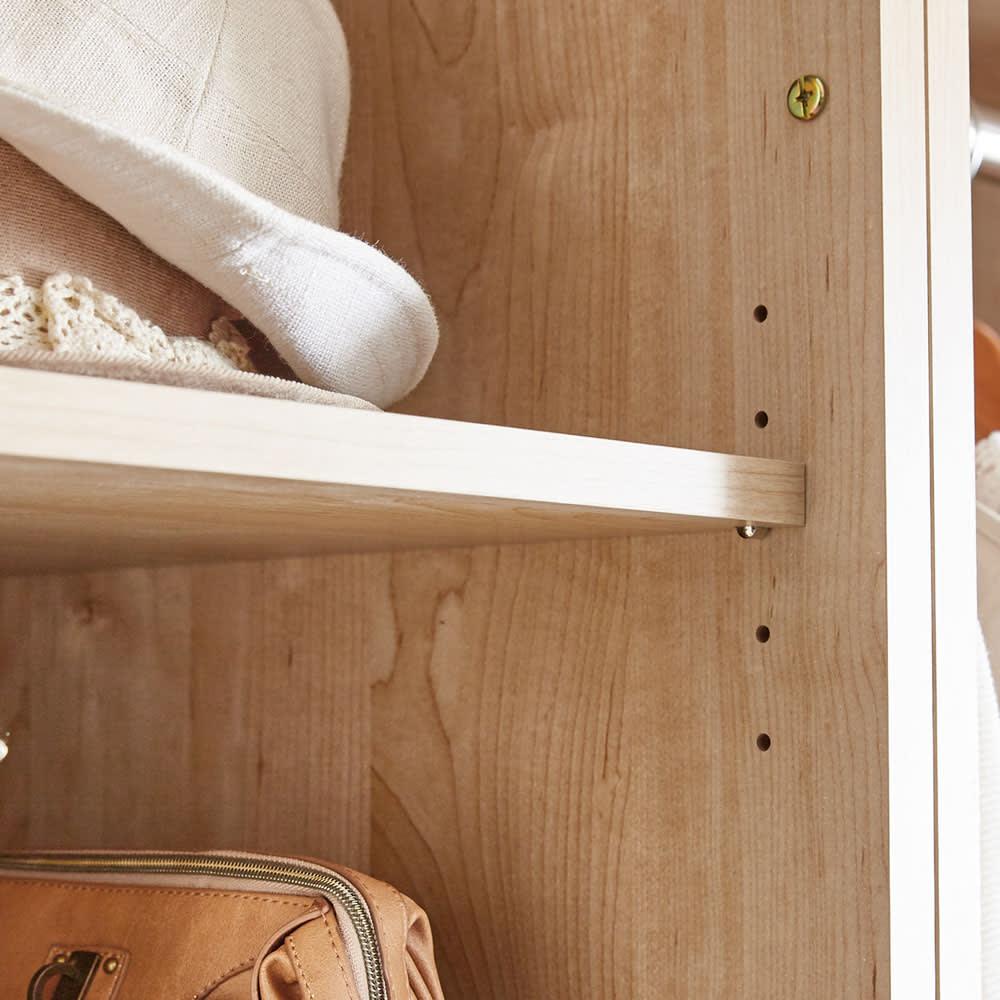 引き出し付きオープンクローゼット 幅99cm 棚は3cm間隔で高さ調節可能。