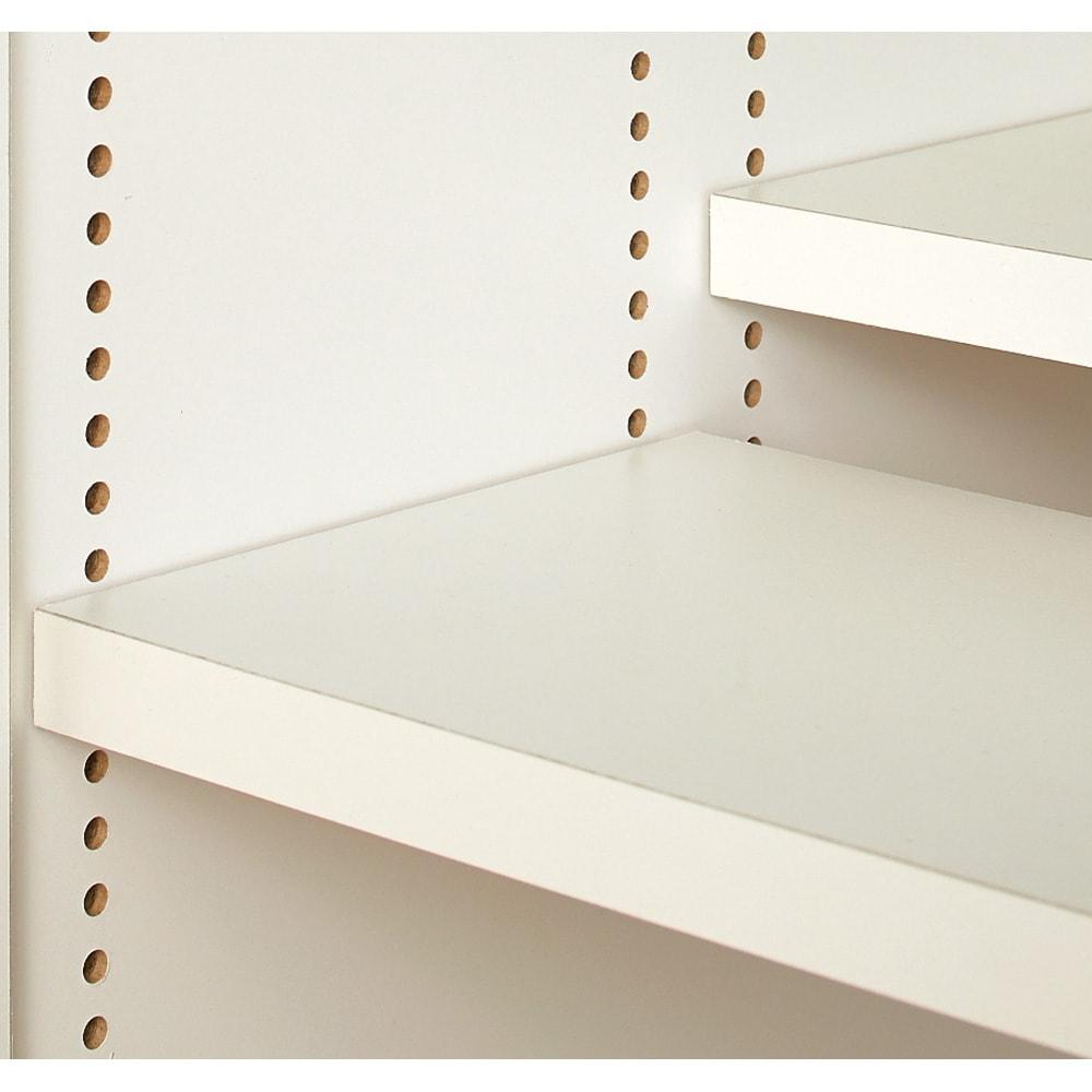 1cmピッチ&段違いで使える ハーフ棚板たっぷり収納庫 幅88cm 【ポイント】 可動棚板は1cm間隔で細かく高さ調節できるのですき間なく収納できます。  ※可動棚板16枚付きです。