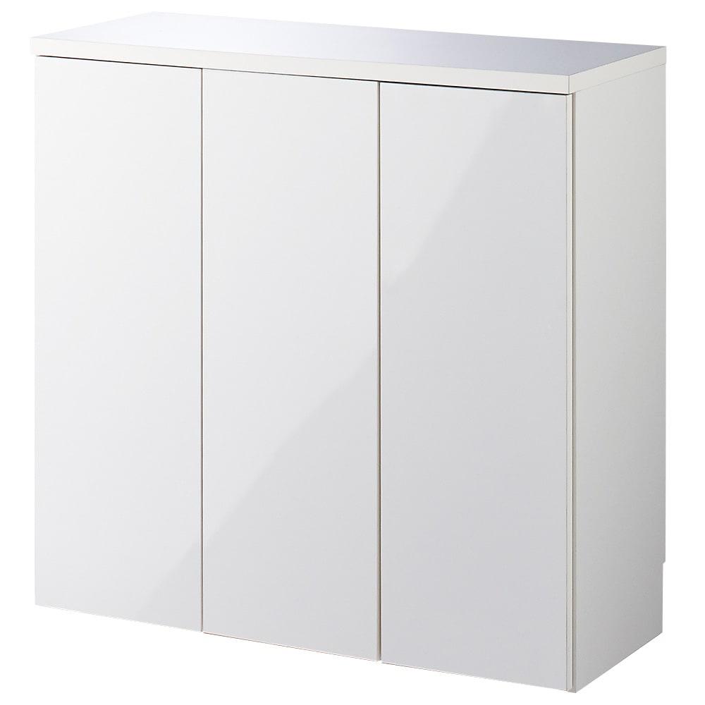 1cmピッチ&段違いで使えるハーフ棚板たっぷり収納庫 幅88高さ70cm (ア)ホワイト