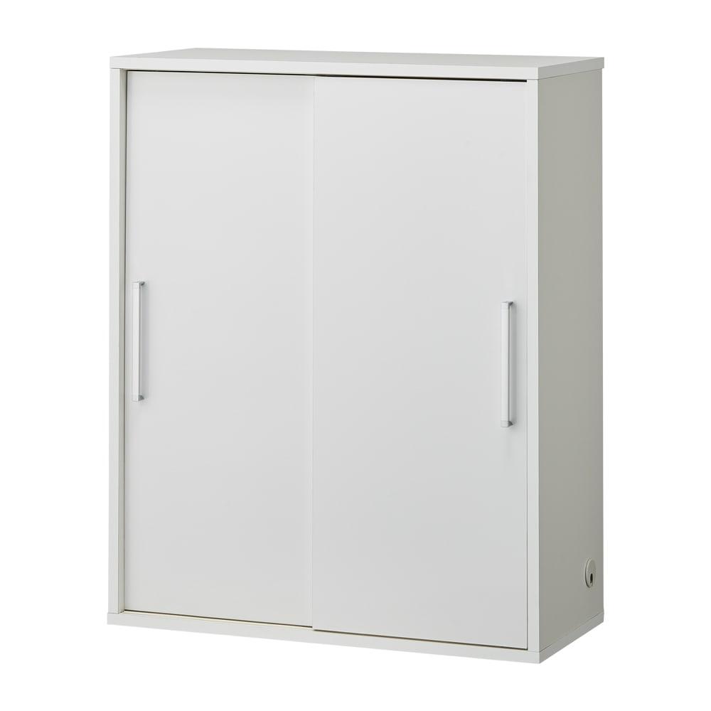 掃除機もしまえる引き戸本棚 幅100cm ミドルタイプ (ア)ホワイト