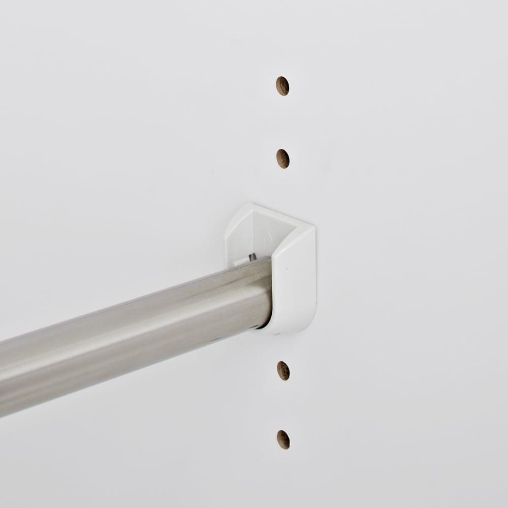 【日本製】いろいろ収納できるワードローブシステム  ハンガー2段 幅60cm ハンガーパイプは3cmピッチ5段階で高さ調節可能。