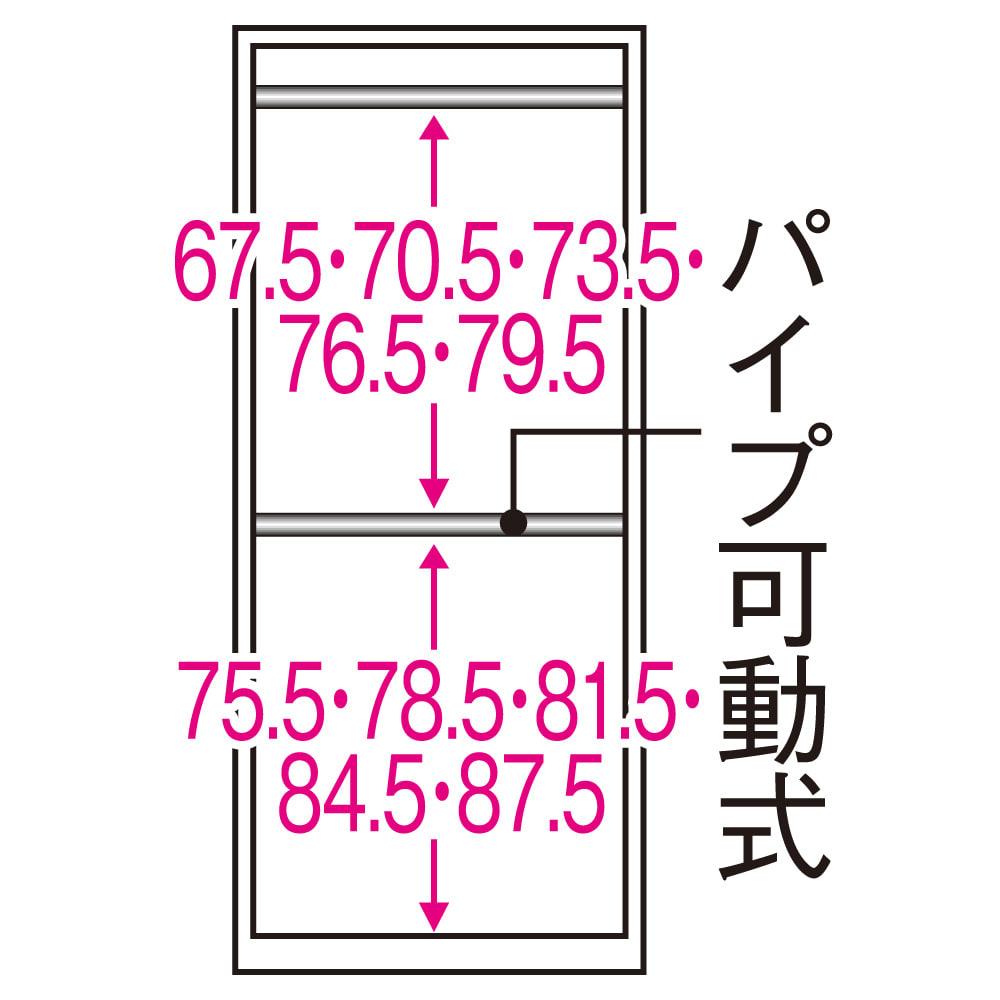 【日本製】いろいろ収納できるワードローブシステム  ハンガー2段 幅60cm 内部の構造図(単位:cm)