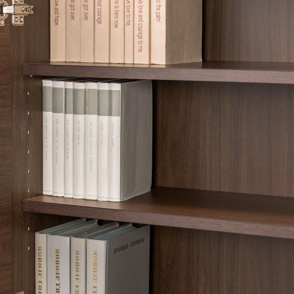 天然木調プリンター収納ライティングデスクシリーズ ロータイプ・幅60.5cm 上部扉内部の棚板は3cm間隔で調節が可能。(※お届けの色とは異なります)