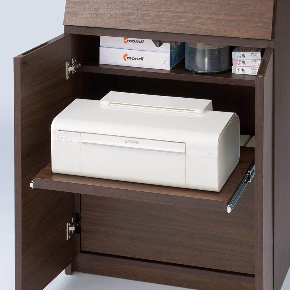 天然木調プリンター収納ライティングデスクシリーズ ロータイプ・幅80.5cm プリンターの収納に便利なスライドテーブル付き。