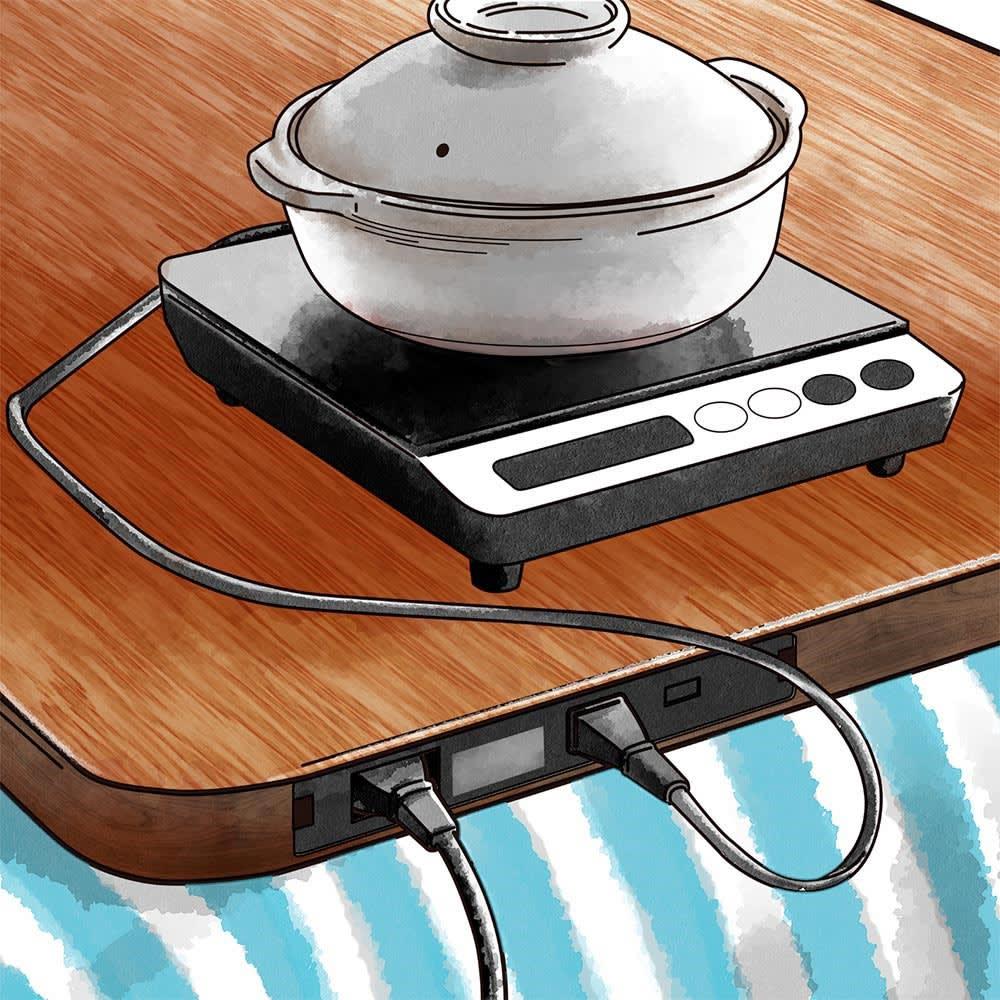 USBポート&コンセント付きこたつ天板 使用イメージ