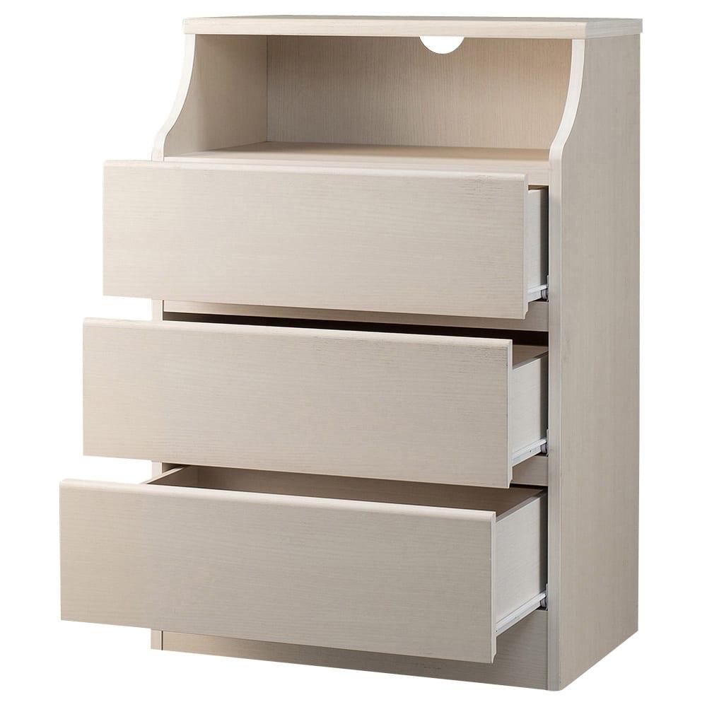 組立簡単チェスト3段 幅60高さ91cm (イ)ホワイト