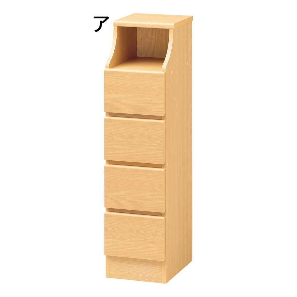 組立簡単チェスト4段 幅28高さ112cm (ア)ナチュラル