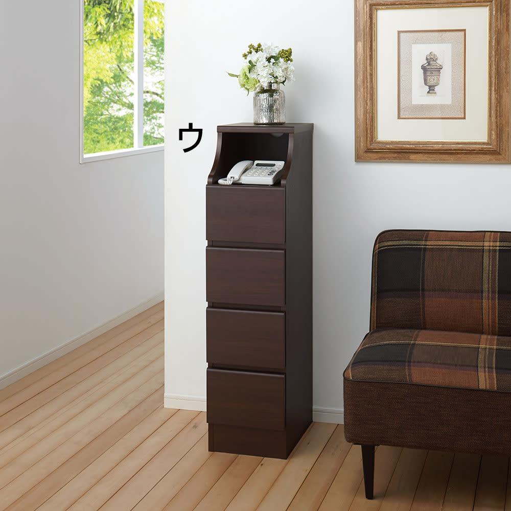 組立簡単チェスト4段 幅44高さ112cm 電話台、FAX台として。 ※写真は4段・幅28cmタイプです。